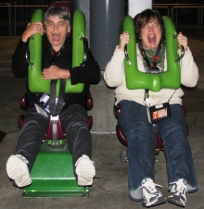 One of my fav pics of the night! Karen Titus and Lisa Schmid taking a test ride on The Hulk!  We couldn't get Karen on the rollercoaster BUT she went on Spiderman 2x!