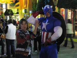 While Karen and Matt went on Spiderman again, I was checking to see if Captain America's muscles were real.  Yup, they were!