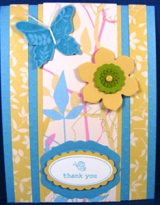 Stamped by Sandy Fechtenburg.  Stamp Sets: Oval All, Great Friend, One of A Kind.  Papers:  Walk in the Park, Baja Breeze, So Saffron, Kiwi Kiss and Vanilla.  There's some sizzlets in there, too!  All images copyright Stampin' Up!