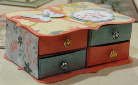 Cute little dresser drawer by Denise Jorgensen using the new Walk In the Park designer paper.  All Supplies Copyright Stampin' Up!