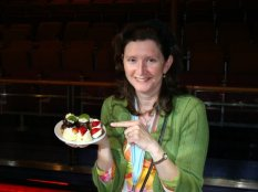 Catherine Harwood taking back of a plate of goodies for her family (or so she says...hee hee)