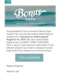 bonus days coupon